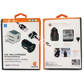 Jual Car Charger Griffin + Wall Charger Griffin 2.1A untuk semua Gadget